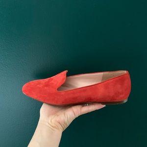 Red suede smoking slippers / loafers
